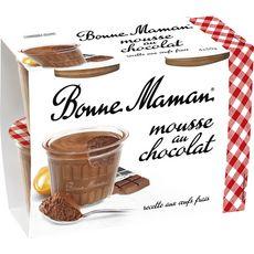 BONNE MAMAN Mousse au chocolat et aux œufs frais 4x50g