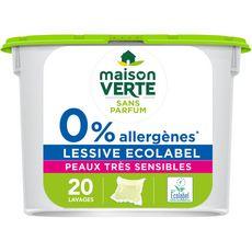 MAISON VERTE Lessive capsules peaux très sensibles 20 lavages 20 capsules