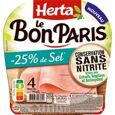 HERTA Le Bon Paris Jambon blanc -25% de sel sans nitrite 4 tranches 140g