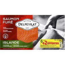 Delpeyrat Saumon Fumé origine Islande en Tranches 6 + 2 offertes 235g