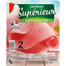 AUCHAN Jambon blanc supérieur cuit à l'étouffée sans couenne 2 tranches 90g