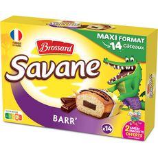 BROSSARD Savane Barr' gâteaux barre de chocolat, sachets individuels 14 gâteaux 378g