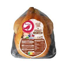 AUCHAN Auchan Poulet entier cuit fumé au bois d'hêtre et de chêne 1,25kg 1,25kg