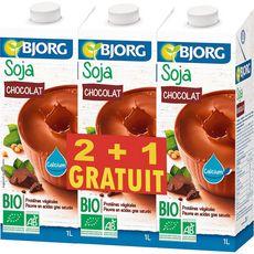BJORG Bjorg soja chocolat calcium bio 2x1l +1l offert