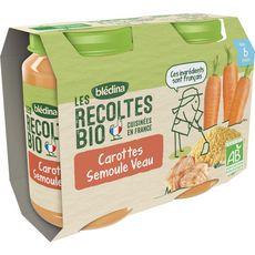 Blédina BLEDINA Blédina Petit pot carottes semoule et veau bio dès 6 mois 2x200g