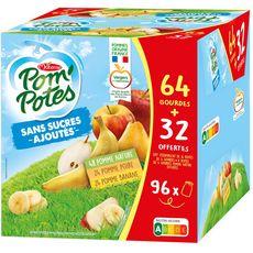 POM'POTES Purée de fruits pomme banane poire sans sucres ajoutés gourdes à boire 64 gourdes +32 offertes