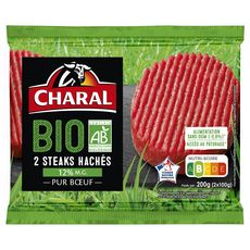 CHARAL Steaks Hachés Pur Bœuf 12%mg bio 2 pièces 200g
