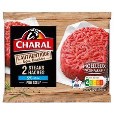 CHARAL Steaks Hachés Pur Bœuf façon bouchère 5%mg 2 pièces 280g