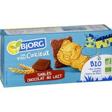 Bjorg BJORG Bjorg Les P'tits Curieux Biscuits bio nappés de chocolat au lait 192g
