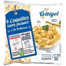 CELTIGEL Coquilles Saint-Jacques à la Bretonne 4 pièces 360g