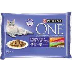 PURINA ONE Repas complet pour chat difficile Effilés en Sauce 4X85g