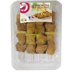 AUCHAN Brochettes de poulet au curry avec ananas 4 pièces 400g