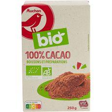 AUCHAN BIO Chocolat en poudre 100% cacao 250g
