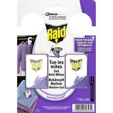 Raid Sachets armoires gel anti-mites parfum lavande x2