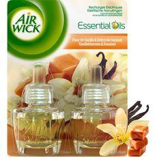 AIR WICK Essential Oils Recharges électriques fleurs de vanille et délice de caramel 2x250ml