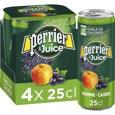 PERRIER Juice eau gazeuse aromatisée pomme et cassis bio boîtes 4x25cl
