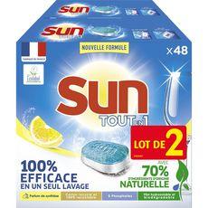 Sun Tablettes lave-vaisselle tout-en-1 écologique citron 2x48 tablettes