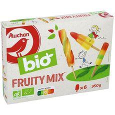 AUCHAN BIO Bâtonnet glacé fruity mix 6 pièces 350g
