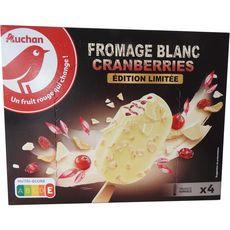 Auchan Bâtonnets glacés au fromage blanc et cranberries x4 -252g