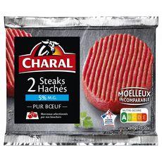 CHARAL Steaks Hachés Pur Bœuf 5%mg 2 pièces 260g