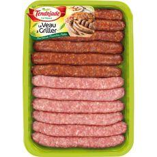 TENDRIADE Assortiment 6 saucisses et 6 merguez de veau à griller 12 pièces 660g