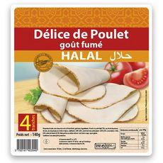 Délice Jambon de poulet fumé halal 4 grandes tranches 140g