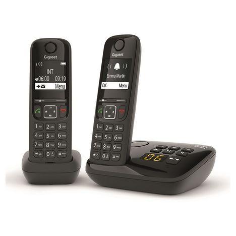 GIGASET Téléphone sans fil - AS690A Duo - Répondeur - Noir