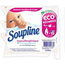 SOUPLINE Recharge assouplissant concentré hypoallergénique amande douce 27 lavages 3x200ml