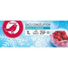 AUCHAN Sacs de congélation avec fermeture zip petit modèle 1l 25 sacs