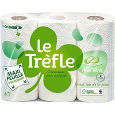 LE TREFLE Papier toilette blanc parfumé aloé vera maxi-feuille 6 rouleaux