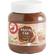 AUCHAN Pâte à tartiner au cacao et noisettes sans huile de palme Pasta Cao 400g