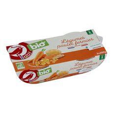 AUCHAN BABY BIO Bol de légumes avec poulet fermier dès 8 mois 2x200g