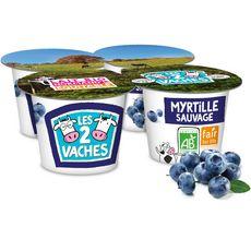 LES 2 VACHES Yaourts aux fruits bio myrtille 4x115g