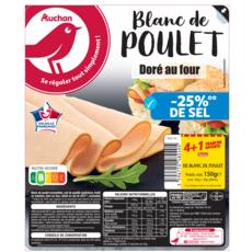 Auchan Blanc de poulet taux de sel réduit x4 tranches + 1 offerte 150g