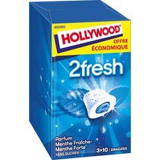 HOLLYWOOD 2 fresh chewing-gums menthe fraîche menthe forte 3x10 dragées 66g