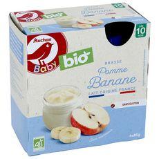 AUCHAN BABY BIO Brassé pomme banane dès 6 mois gourde 4x85g