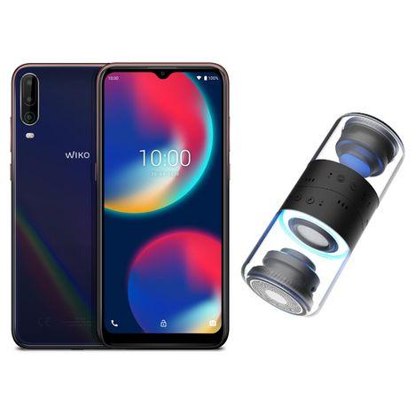 WIKO Smartphone View4 64 Go 6.52 pouces 4G Bleu + Enceintes Bluetooth 5.0 Wishake Vibes Noir
