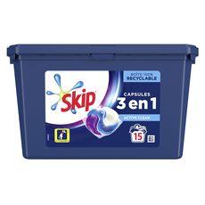 Skip Lessive capsules écodoses 3 en 1 active clean 15 lavages