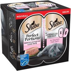 SHEBA Sheba Perfect portion barquettes terrine pâtée de saumon pour chat 6x37,5g 6x37,5g