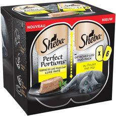 SHEBA Sheba Perfect portion barquettes terrine pâtée de poulet pour chat 6x37,5g 6x37,5g