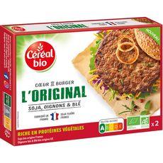 CÉRÉAL BIO Coeur de burger végétal original soja oignons et blé 2 pièces 160g