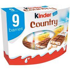 KINDER Country barres chocolatées 9 barres 212g