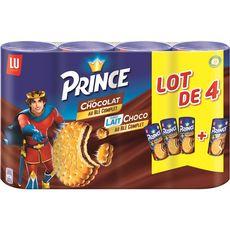 PRINCE Biscuits fourrés goût chocolat et chocolat au lait 4x300g