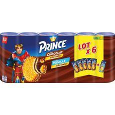 PRINCE Prince Biscuits fourrés goût chocolat et goût vanille 6x300g 6x300g