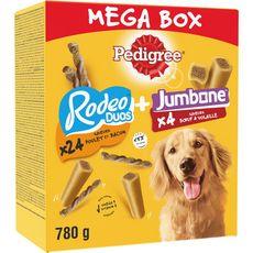 PEDIGREE Mega box de friandises rodeo duo et jumbone pour chien 28 pièces 780g
