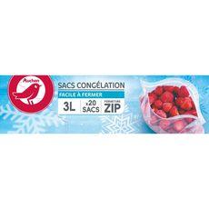 AUCHAN Sacs de congelation avec zip3l 20 sacs