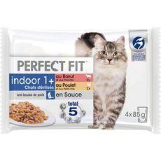 PERFECT FIT Indoor Sachets en sauce 2 variétés chat stérilisé 4x85g