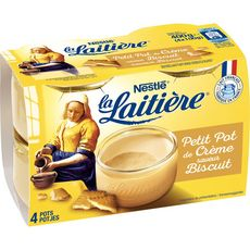LA LAITIERE Petit pot de crème au biscuit 4x100g