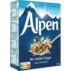 ALPEN Céréales muesli au blé complet sans sucres ajoutés 560g