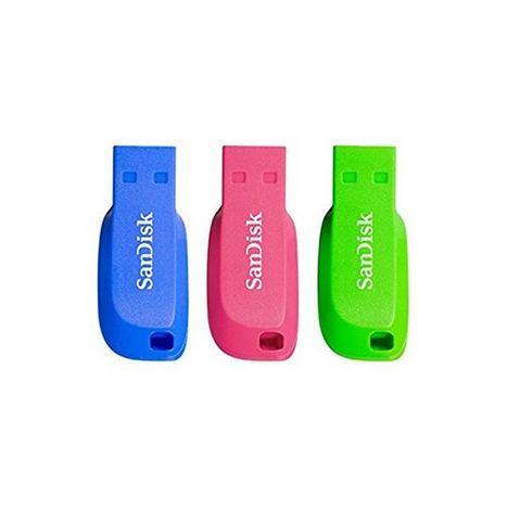 SANDISK Pack 3 clés CRUZER BLADE 16 Go Bleu Vert et Rose
